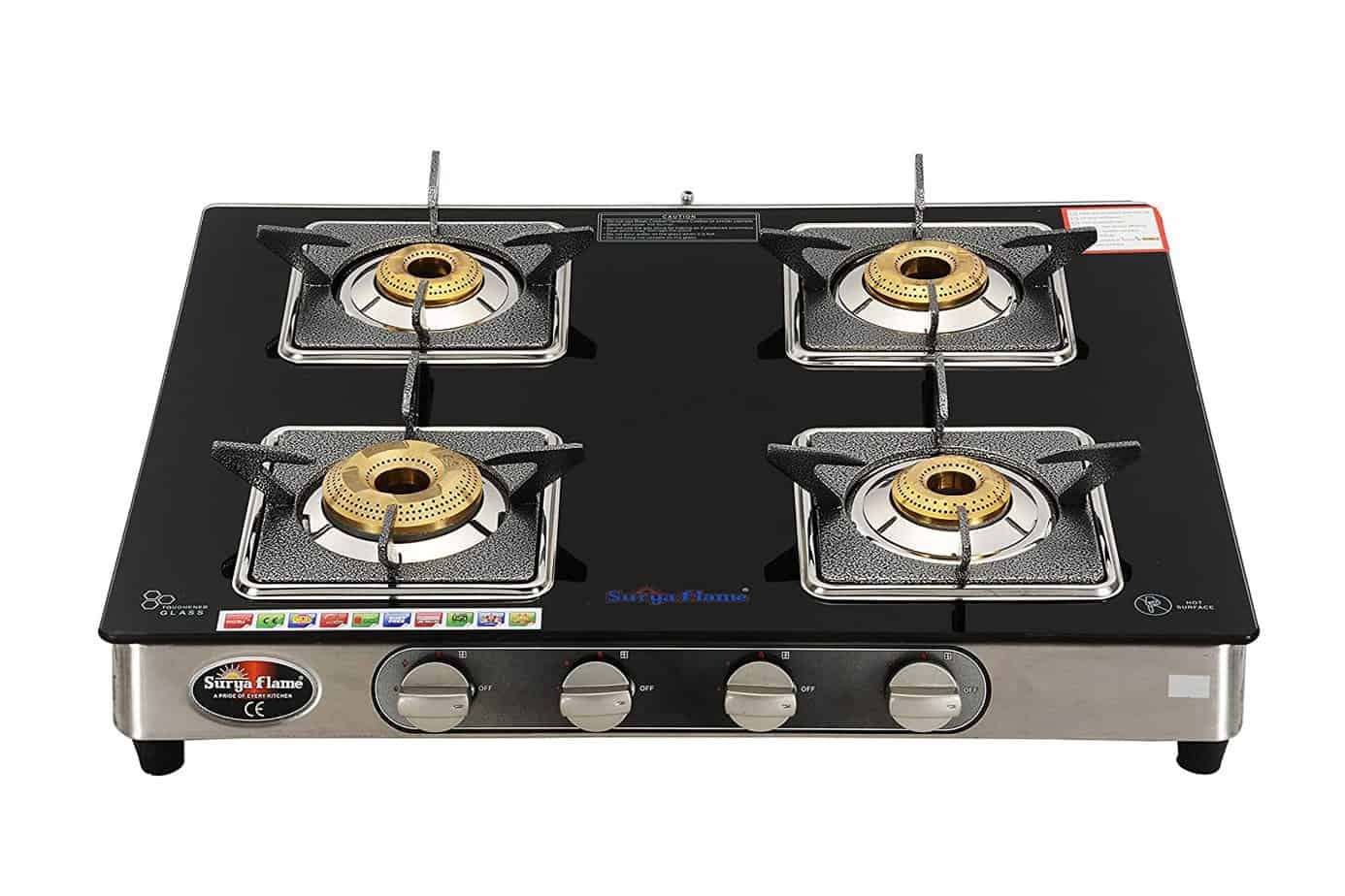 Surya Flame 4 Burner Black Glasstop Gas Stove