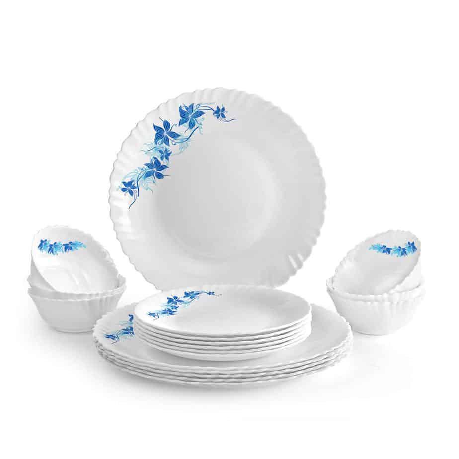 Cello Blue Swirl Opalware Dinner Set